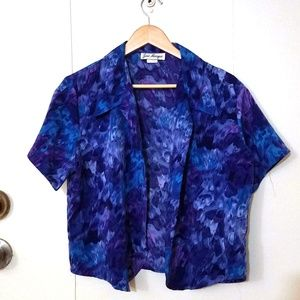 Vintage Watercolor Button-Up Short Sleeve Top